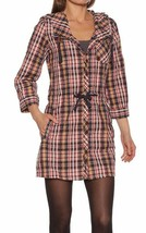 Bench UK Plaid Navy Yellow Red Cocoa Tunic Cotton Poly Dress w Hood NWT