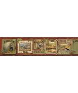 Poinsett Dark Red Cabin Fever Wallpaper Border Chesapeake TLL01542B - $21.28