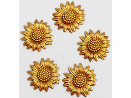 Gold Sunflower Charms, Set of 5