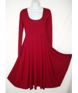 Luna Luz S Small Faux Wrap Matte Jersey Dress Red Layered Lagenlook - $35.99