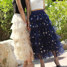 Layered Tulle Midi Skirt Champagne Navy Tulle Ruffle Skirt Gold Star Deco image 3