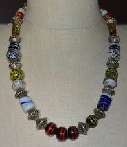 Vintage Karla Jordan Mixed Material Bead Beaded Abstract Necklace - $34.65