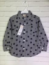 Gymboree Boys Bear Paws Print Gray Blue Button Up Long Sleeve Shirt 18-24 Months - $15.04