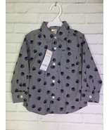 Gymboree Boys Bear Paws Print Gray Blue Button Up Long Sleeve Shirt 18-2... - $14.10