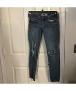 Hollister Womens Oceanside Super Skinny Jeans Blue Distressed Stretch Ju... - $10.44