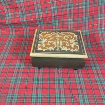 Vintage Inlaid Wooden Reuge Italy Music Box, Torna Surriento Swiss Movement - $18.52