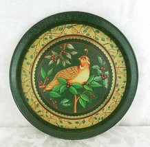 "Vintage Giftco Metal Tray Forest Green Partridge Quail and Holly 13.5"" C... - $14.84"