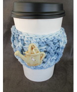 To Go Cup Cozy Sleeve in shades of blue with ceramic watering can shape ... - $5.95