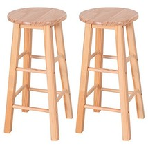 COSTWAY 24-Inch Pine Wood Bistro Square Leg Bar Stool Dining Kitchen Pub... - $53.15