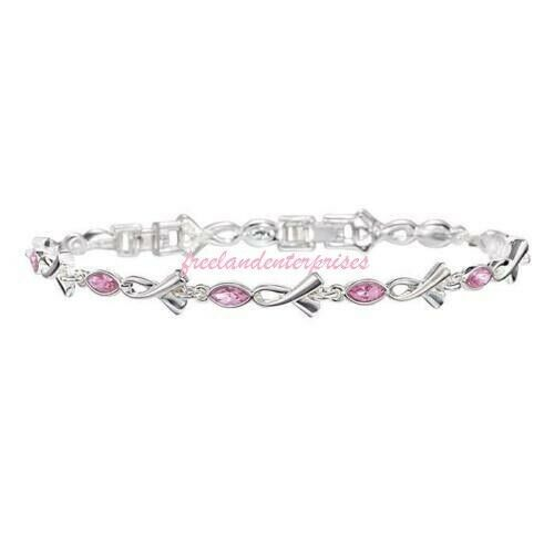 Breast Cancer Pink Hope Tennis Bracelet with Ribbon Accents ~Pink & Silvertone~ - $9.85