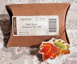 Longaberger Basket FALL FOLIAGE Tie On Charm 2007 Leaves Acorns New Box Retired - $13.00
