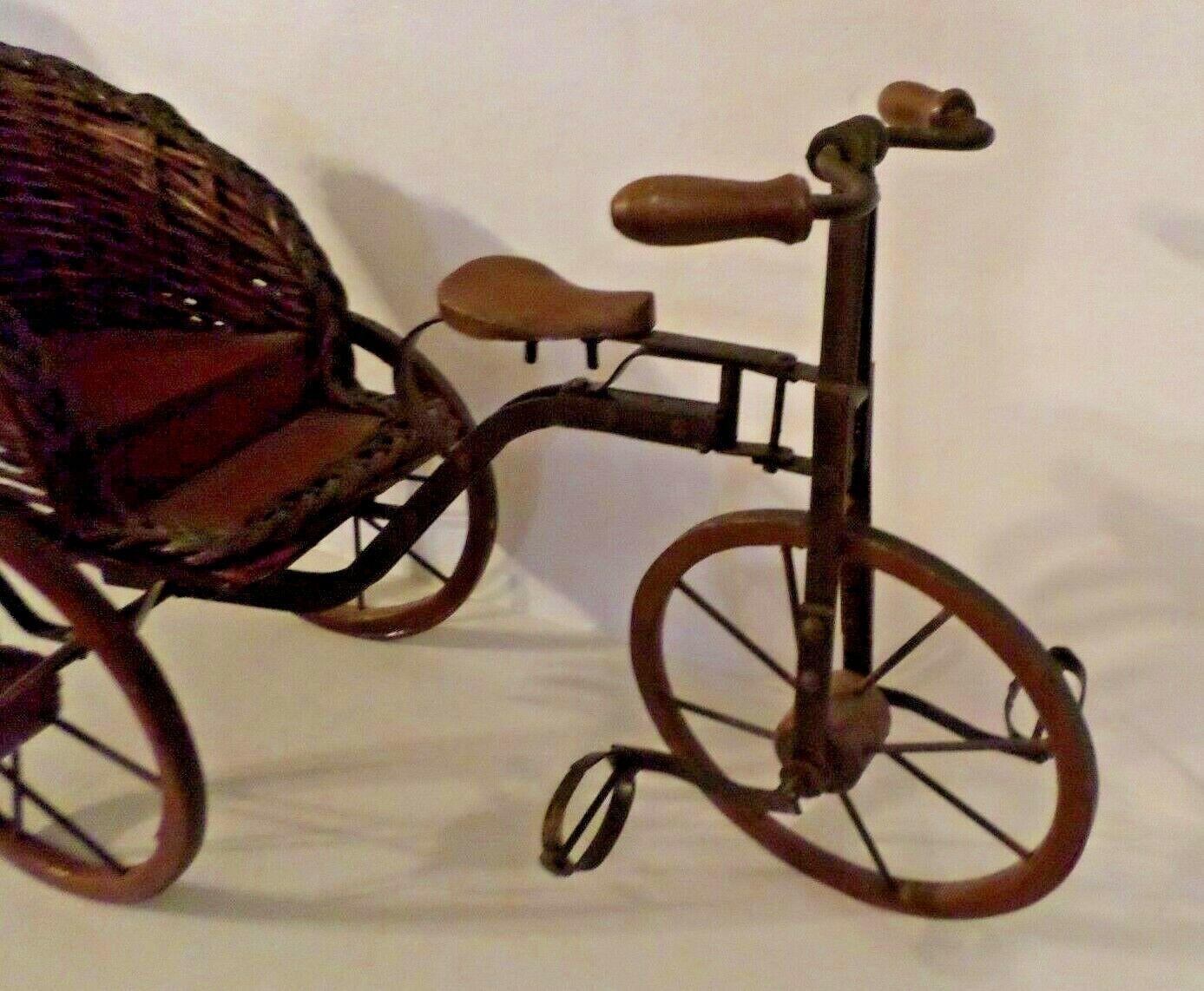 VINTAGE WOOD  METAL RICKSHAW 3 Wheel Bicycle PEDICAB DOLL PLANT DISPLAY FIGURINE