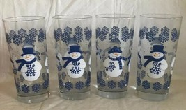 SNOWMAN TALL WATER GLASS DRINKING GLASSES SET OF 4 BLUE WHITE HOLIDAY SN... - $24.74