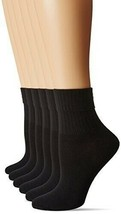 Hue Womens TURNCUFF Ribbed Ankle Socks 6 Pack One Size Black $16 - NWT - $13.29