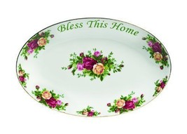 """Royal Albert Old Country Roses """"Bless This Home"""" Platter  12-Inch NEW - $45.80"""