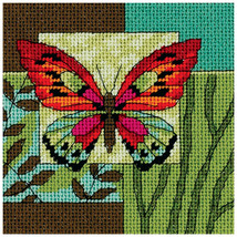 "Dimensions Mini Needlepoint Kit 5""X5""-Butterfly Impression Stitched In T... - $11.48"