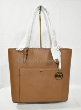 NWT Michael Kors Jet Set Large Top Zip Snap Pocket Tote in Luggage Brown - $149.00