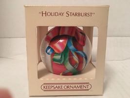 Hallmark Glass Ball Ornament 1984  Holiday Starburst Ribbon Garland Tinsel - $6.00