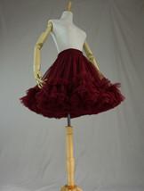 Burgundy Ballerina Tulle Skirt High Waisted Women Girl Ballet Skirt image 4