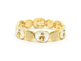 Goldtone Christmas Snow Flake Snowman Stretchable Bracelet - $16.95