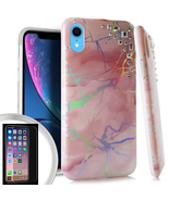 iPhone XR 6.1 Pink Sparkle Marble Design TPU Case Cover w/Tempered Glass - $12.99