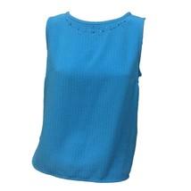 Koret Womens Aqua Blue Crew Neck Sleeveless Beaded Neck Tank Casual Top ... - $12.87