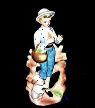 Figurine of Young Girl carrying a basket (Relco Japan) AA18 - 1117Vintage - $29.65