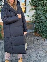 Women's New High Street Solid Hooded Full Length Quilted Parka Coat image 5