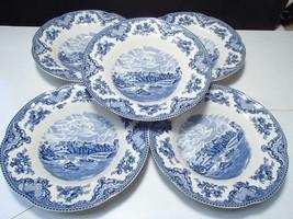 5 Johnson Bros Large Rim Soup Bowls ~ Old Britain Castles - $39.95