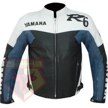 YAMAHA R6 BLUE MOTORCYCLE MOTORBIKE BIKERS ARMOURED COWHIDE LEATHER JACKET - $194.99