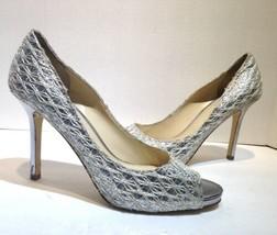 Enzo Angiolini Silver Webbed Peep Toe Stiletto Heels Womens Size 9 - $28.70