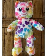 Build A Bear BAB Multicolored Rainbow Hearts Leopard Cat Stuffed Plush R... - $14.85