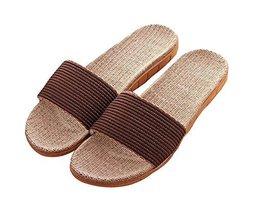 Washable Linen Men Cotton Thick Bottom Anti-slip Cool Summer Slippers - $13.97