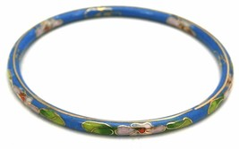 Vintag Bangle Bracelet Blue Floral Chinese Cloisonné Gold 1920s - $71.89
