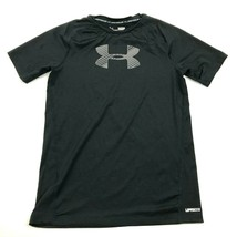 Under Armour Dry Fit Shirt Youth Size Large YLG Fitted Black UPF 30+ Hea... - $17.83