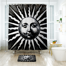 Sun Faces Shower Curtain Waterproof Polyester Fabric & Bath Mat For Bathroom - $16.30+
