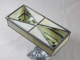 "STAINED GLASS JEWELRY BOX WITH DOUBLE CRYSTAL CLEAR 3 1/2""x4 1/4"" DIAMON... - €39,69 EUR"
