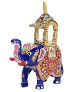 Elephant figurine statue Metal Hand painted Ambawadi style handpainted g... - $27.27