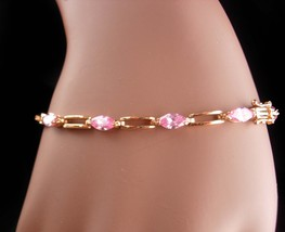 Stunning Sterling PINK marquise gold Bracelet - October birthstone - Lib... - $95.00