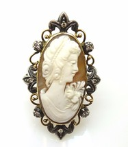 10k Gold Huge Oval Genuine Natural Cameo Ring with Diamonds (#J3735) - $524.99