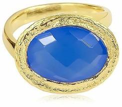 Saachi Ton Doré Ovale Bleu Calcédoine Ovale Asymétrique Bague, Taille 6
