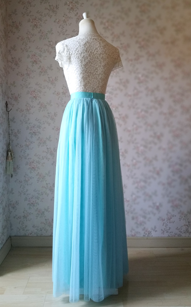Full tulle skirt wedding blue 22 4