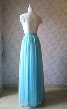Blue Tulle Maxi Skirt Full Length Tulle Skirt Blue Themed Wedding Skirt Outfit image 4