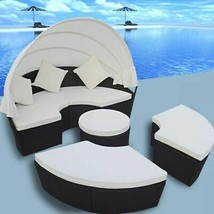 vidaXL Outdoor Lounge Set 2-in-1 Poly Rattan Black Wicker Sunbeds Daybeds - $462.99