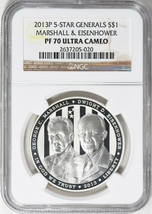 2013-P 5-Star Generals Commemorative Silver Dollar - NGC PF-70 - Ultra C... - $81.18