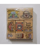 Hero Arts Lets Have Coffee Rubber Stamp Set 8 Stamps 1996 - $22.76