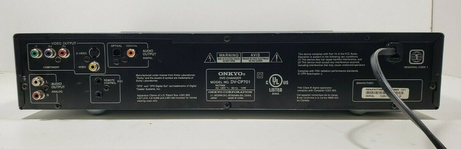 Onkyo 6 Disc Carousel DVD/ CD Changer DV-CP701 with Remote Tested image 6