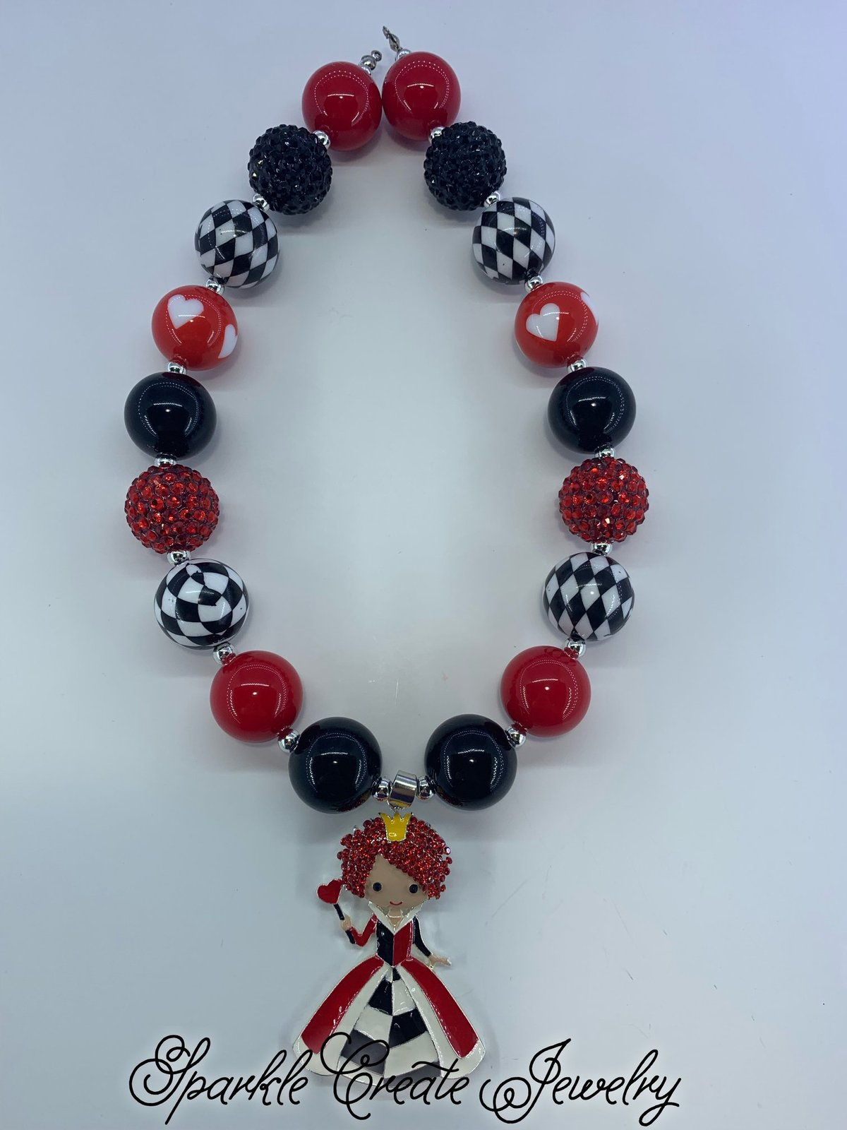 Queen Of Hearts Chunky Bubblegum Necklace