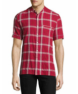 NEW MENS OVADIA & SONS NYC BAND COLLAR PLAID SHORT SLEEVE BUTTON FRONT S... - $89.09