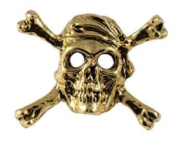 Creative Pewter Designs, Skull and Crossbones Magnet, 24k Gold Plated, A... - €19,65 EUR